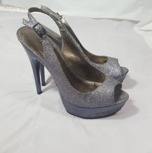 Shoes - Sling back silver high heel